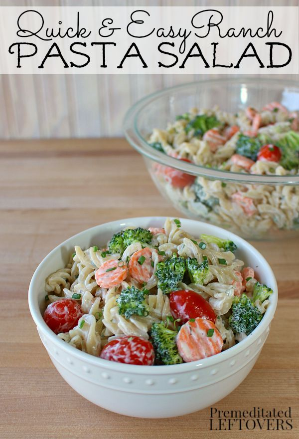 Meatless Ranch Pasta Salad + Dairy-Free Buttermilk Substitute: This quick and easy #MeatlessMondayNight dinner is made with pasta, vegetables and ranch dip.