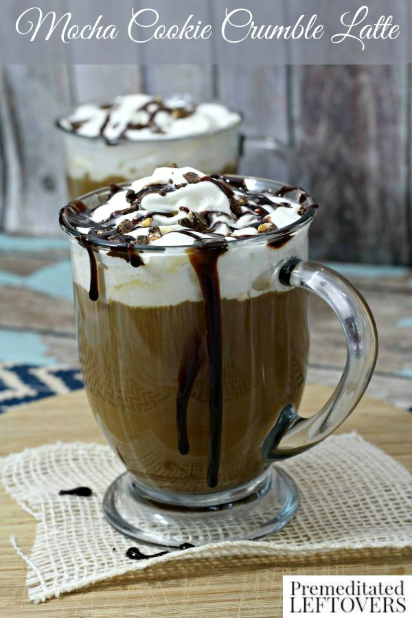 Mocha Cookie Crumble Latte- Try this mocha latte recipe for a sweet and decadent dessert beverage. It has a cookies and cream favor that is so delightful!