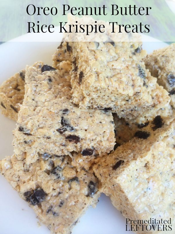 Oreo Peanut Butter Rice Krispie Treats- Oreos and peanut butter are always a hit. They create a sweet and chewy dessert in this Rice Krispie treat recipe.