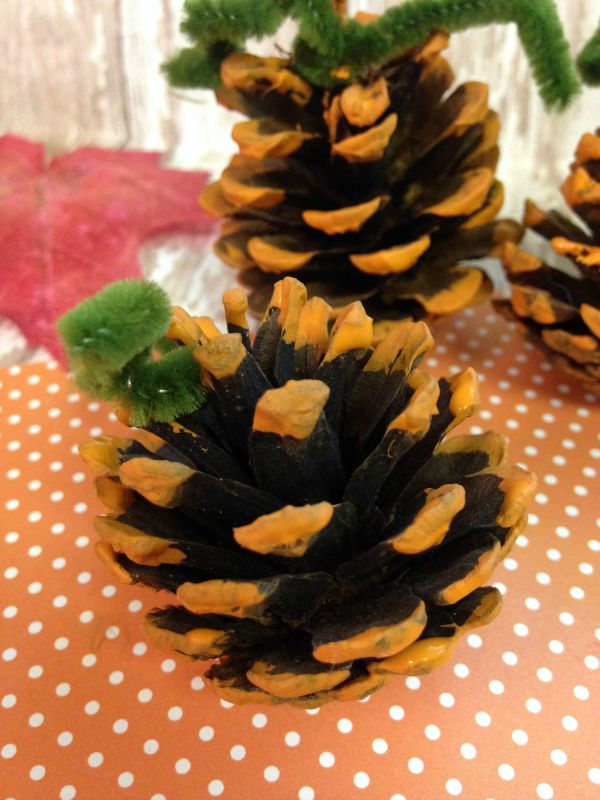 Hand Painted Pumpkin Pine Cones stems
