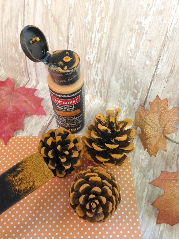 Hand Painted Pine Cone Pumpkins paint