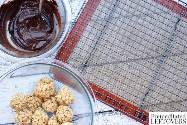 Salted Caramel Chocolate Covered Rice Krispie Treat