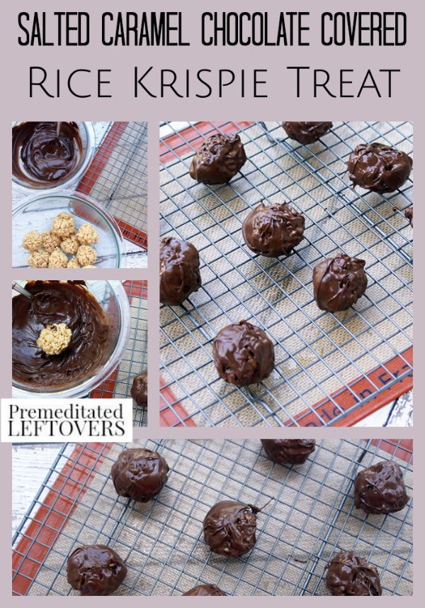Salted Caramel Chocolate Covered Rice Krispie Treat- The salted caramel and chocolate in these Rice Krispie treats put an indulgent spin on an old favorite!