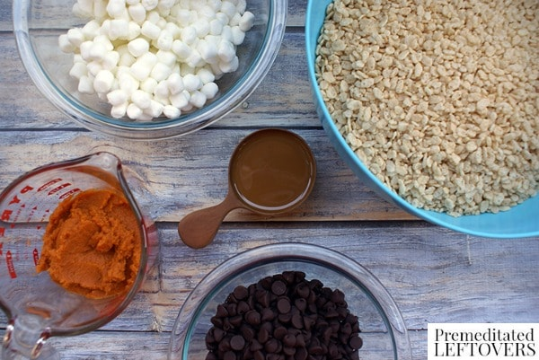 Salted Caramel Rice Krispies with Pumpkin Fudge Topping