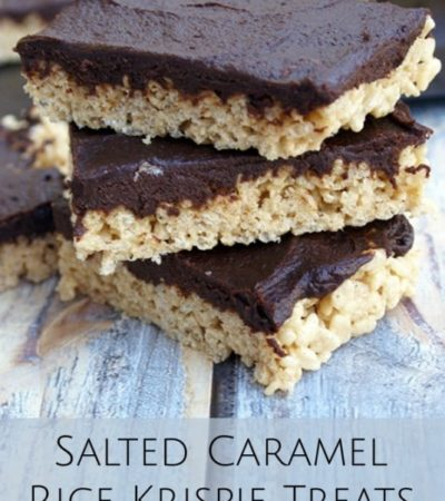 Salted Caramel Rice Krispies With Pumpkin Fudge Topping- These rice krispie treats are divine. Pumpkin, caramel, and chocolate give them quite the makeover!