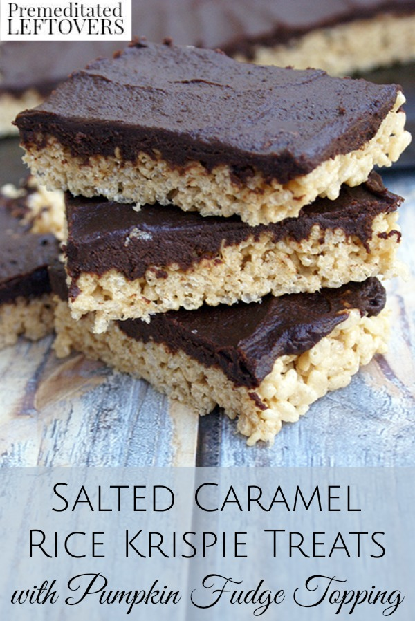 Salted Caramel Rice Krispies with Pumpkin Fudge Topping Recipe - These quick and easy rice krispie treats are made with pumpkin, caramel, and chocolate.