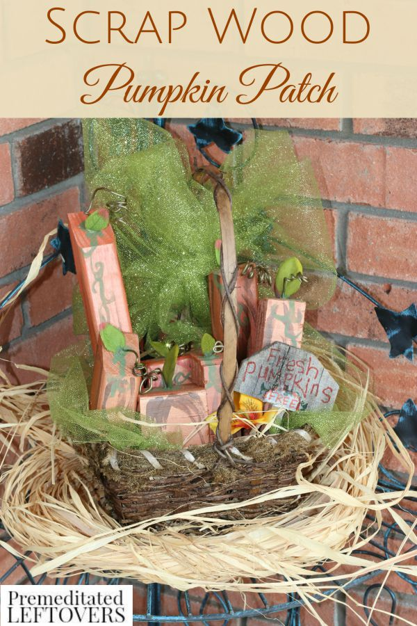 Scrap Wood Pumpkin Patch Basket- These cute wooden pumpkins are a fun and easy way to recycle old lumber. Create your own to decorate for the fall holidays.