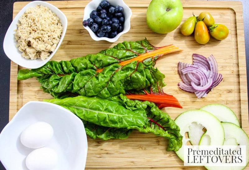 Swiss Chard Garden Salad ingredients
