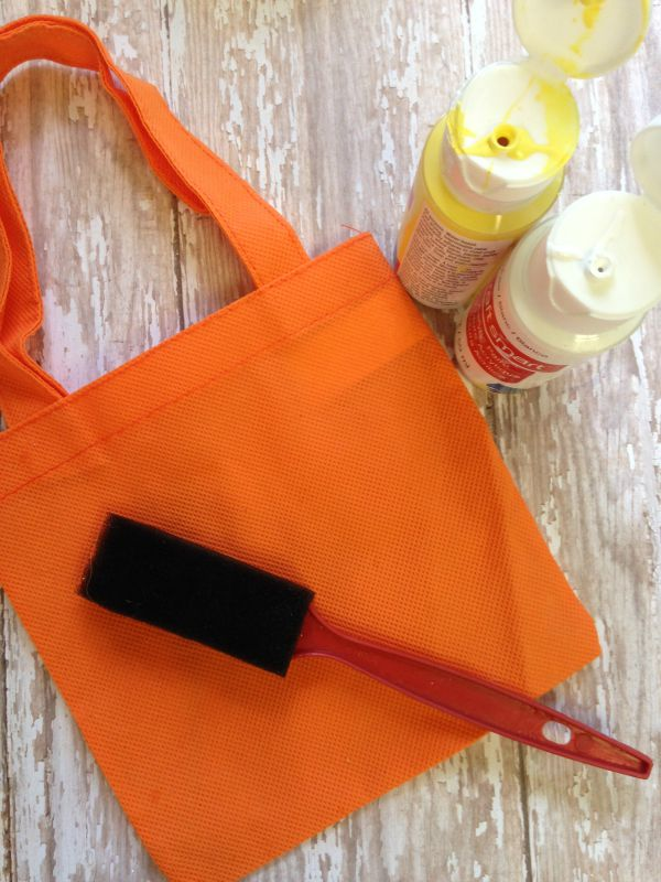 Hand Painted Candy Corn Treat Bag materials
