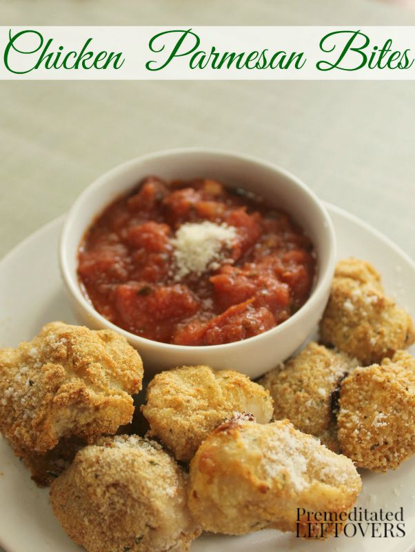 Chicken Parmesan Bites- These homemade chicken nuggets are a cinch to make. A Parmesan cheese and Italian breadcrumb coating gives them the perfect crunch!