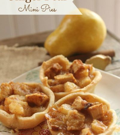 Ginger Pear Mini Pies- These mini pear and ginger pies will fill your home with the heavenly aromas of fall. Enjoy them for dessert or a snack on-the-go.