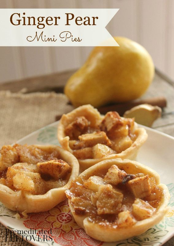 Ginger Pear Mini Pies Recipe - These mini pear and ginger pies will fill your home with the heavenly aromas and flavors of fall. Great dessert or on-the-go snack idea.