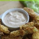 Cornmeal Crusted Fried Green Tomato Fries- Put a yummy spin on old southern favorite with these fried green tomato fries. Cornmeal adds the perfect crunch!