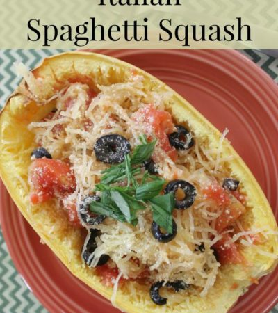 Italian Baked Spaghetti Squash- Have you tried using spaghetti squash in place of noodles? Gather your favorite Italian toppings to bake this tasty recipe!