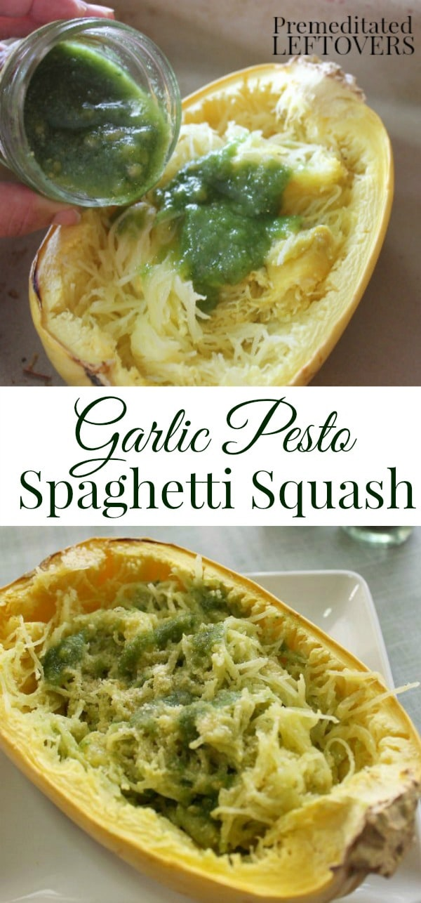 Garlic Pesto Spaghetti Squash Recipe: This spaghetti squash with pesto is a quick and easy dinner recipe. The spaghetti squash noodles make a low-carb meal.