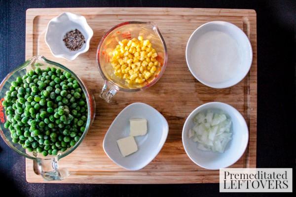 Pea & Pan Fried Corn Soup ingredients