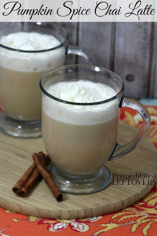 Pumpkin Spiced Chai Latte Recipe: This pumpkin spice chai latte is the perfect tea to warm you on cool fall days. Uses pumpkin puree, black tea, and spices.