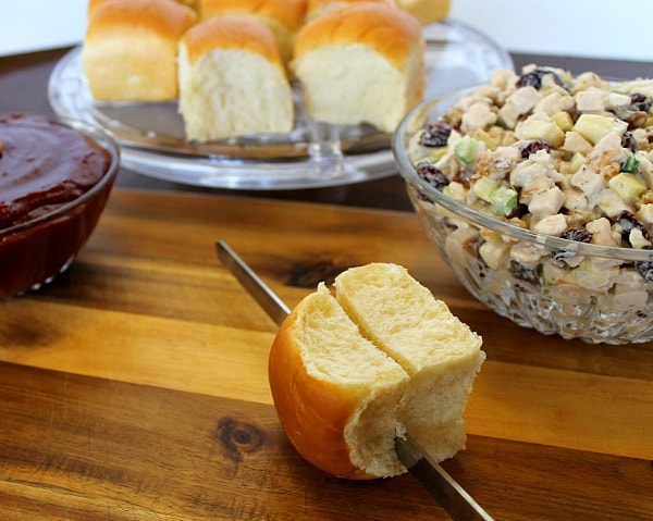 Turkey Salad Mini-Sandwiches served on King's Hawaiian Dinner Rolls