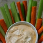 Sweet Buffalo Dip- This homemade buffalo dip is a great way to spice up veggies or chicken. Give it a try for an easy dipping sauce that is sweet and tangy.