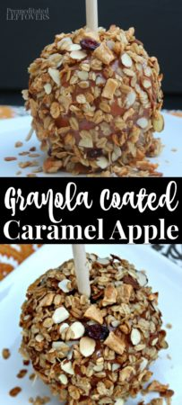 Easy granola coated caramel apple recipe.