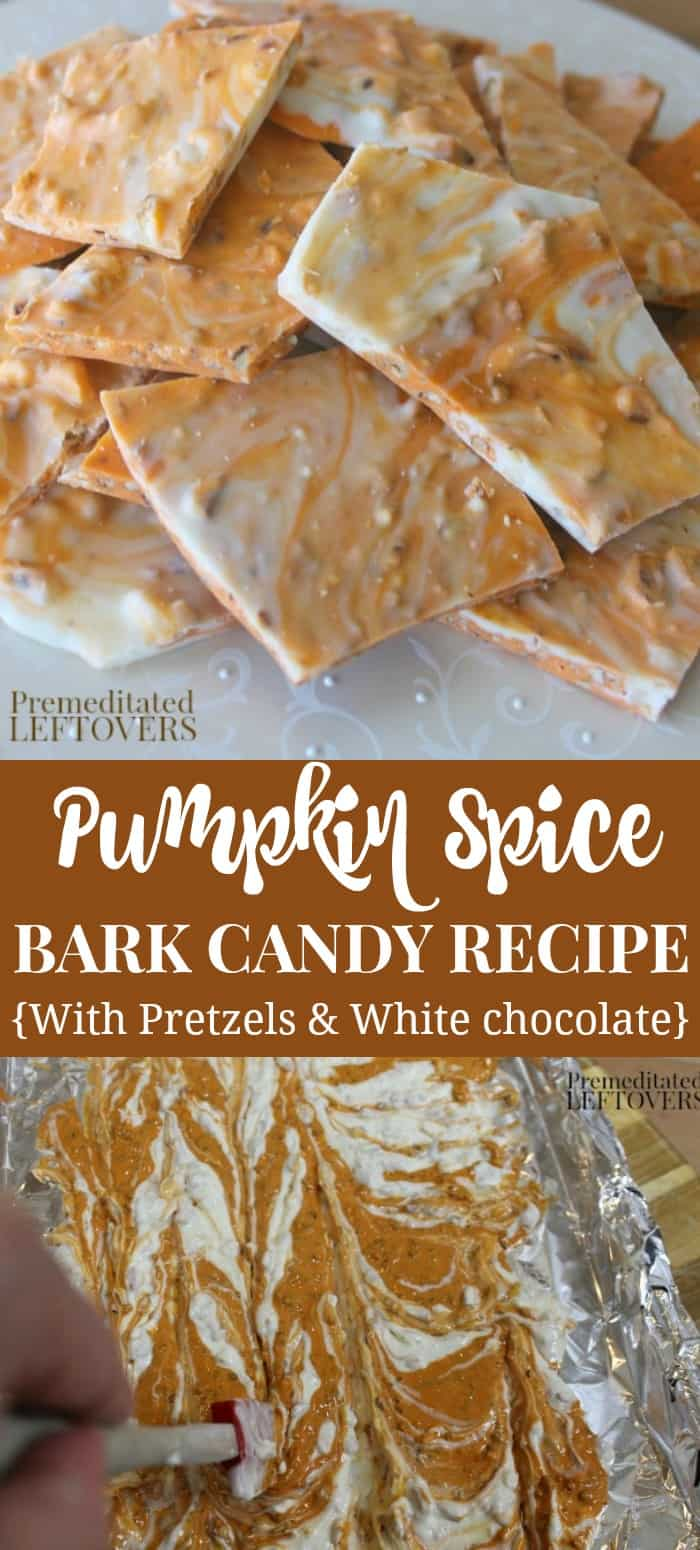 Pumpkin spice bark candy recipe with pretzels and white chocolate.