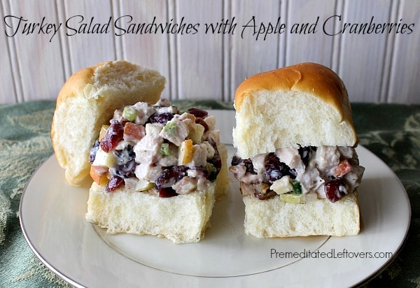 Turkey Salad Sandwiches with Apples and Cranberries served on King's Hawaiian Dinner Rolls