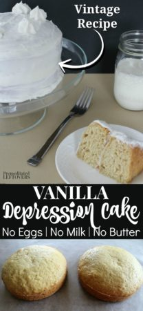 This vanilla depression cake is a vintage recipe called crazy cake or whacky cake.