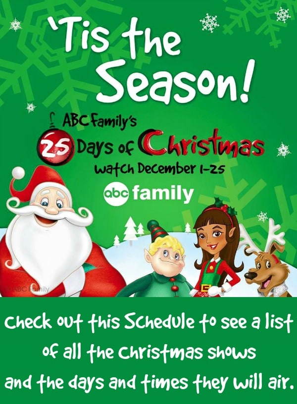 abc familys 25 days of christmas schedule 2016