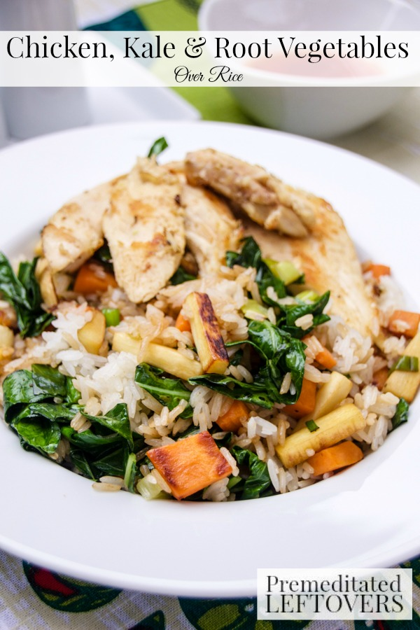Chicken and Root Vegetables Over Rice- This skillet recipe is a delicious way to use leftover chicken. It is a cinch to make and is bursting with color!