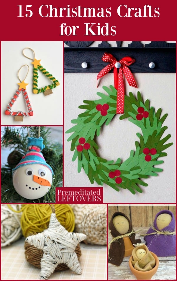 15 Christmas Crafts for Kids - Keep your kids busy on Christmas break with these holiday craft projects. Many of them use basic items from around your home and are easy for kids to make. Several of these projects would make great preschool Christmas crafts or holiday party activities for kids.