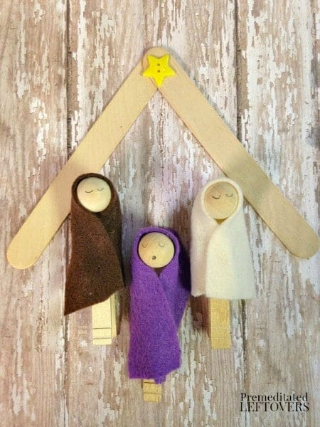 Clothespin nativity scene and Popsicle stick stable
