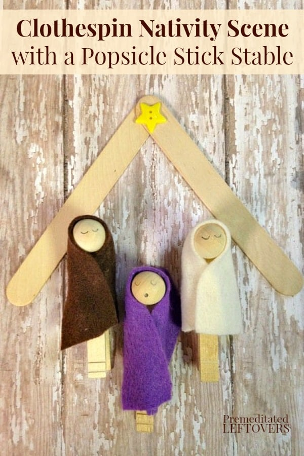 Clothespin nativity scene with a Popsicle stick stable