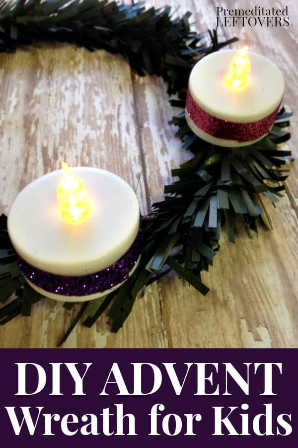 A homemade Advent Wreath using battery operated candle votives, so it is safe for children to use during the Advent season.
