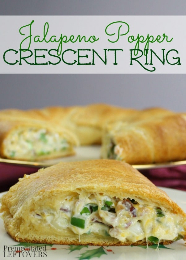 Jalapeno Popper Crescent Ring Recipe: An easy appetizer recipe made by stuffing a Pillsbury crescent ring with jalapeno popper dip. Easy make-ahead party recipe.