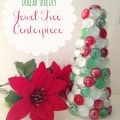 Dollar Tree DIY: Jewel Tree Centerpiece- With just $3 in supplies, this jeweled centerpiece is a frugal craft to add to your table decor this Christmas.