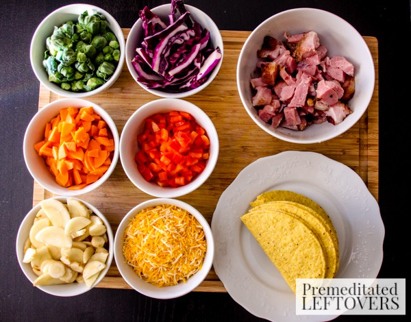 Leftover Ham Tacos with Root Vegetables