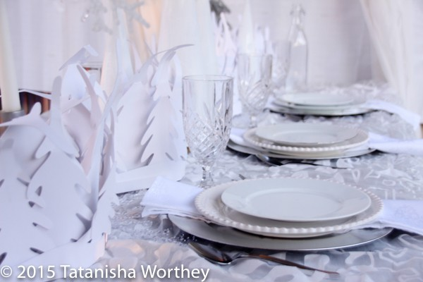 Winter Wonderland Tablescape Idea and DIY White Christmas Cones