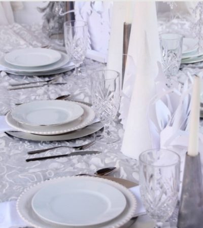 Winter Wonderland Tablescape Idea & DIY White Christmas Cones- Turn your holiday table into a winter wonderland with this beautiful tablescape idea.