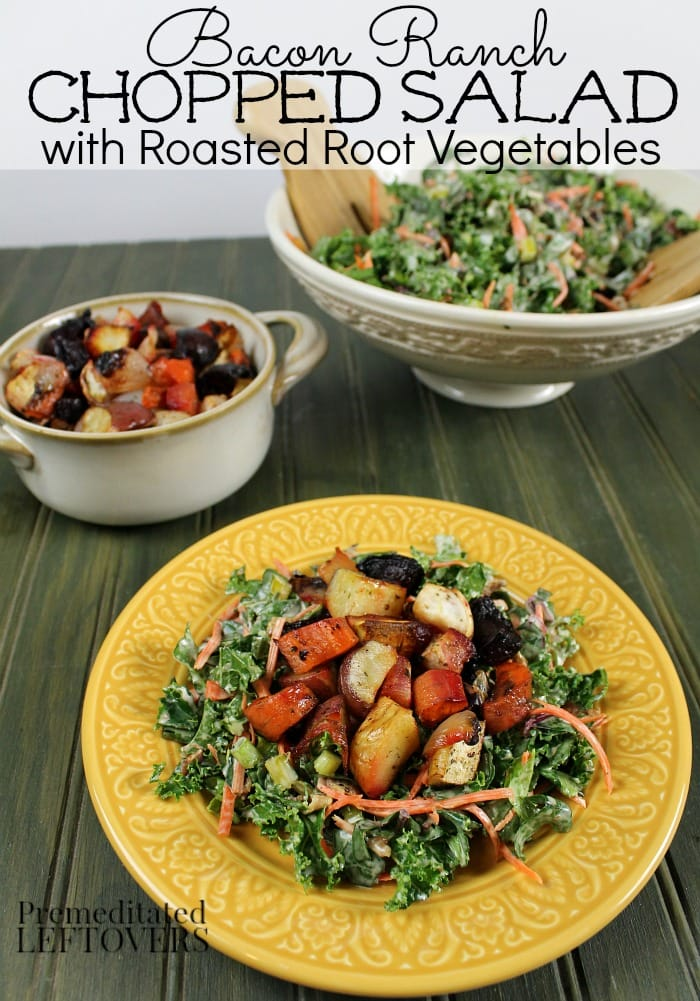 Bacon Ranch Chopped Salad Recipe with Roasted Root Vegetables includes kale, beet leaves, chard leaves, carrot tops, celery tops, radish tops, bacon, and Hidden Valley Ranch Dressing.