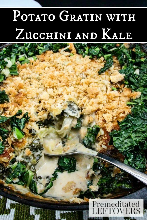 Potato Gratin with Zucchini and Kale- This hardy gratin potato dish is full of flavor and fresh veggies. Keep this recipe handy for the upcoming holidays.