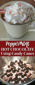 Easy homemade peppermint hot chocolate recipe using crushed candy canes.