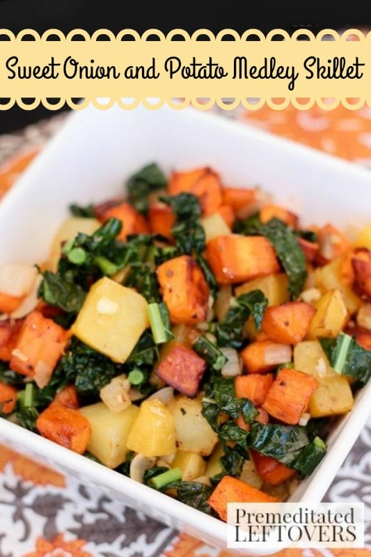 Sweet Onion and Potato Medley Skillet- Here's a new recipe to try this Thanksgiving. Guests will enjoy this colorful mix of potatoes, sweet onion, and kale.