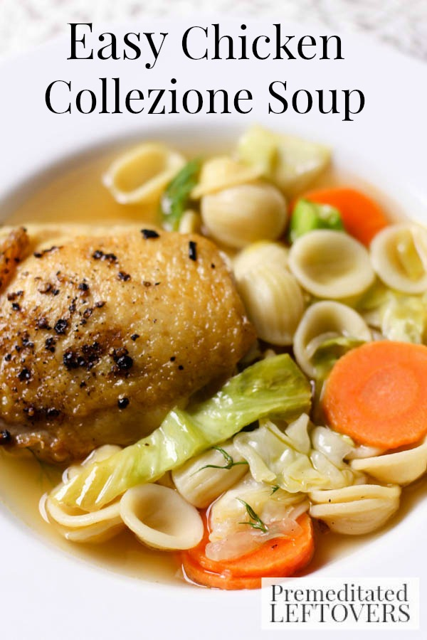 Easy Chicken Collezione Soup- This chicken soup recipe is a new take on an old classic. Enjoy a warm bowl with fresh vegetables and orrechiette noodles.