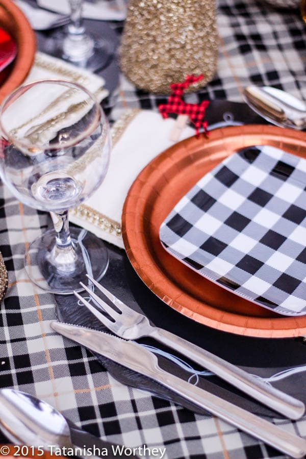 Easy Holiday or New Years Party Idea using Plaid Products from Target: Plaid Tablescape Idea
