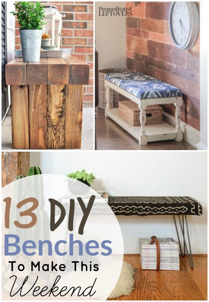 DIY Benches- Homemade Benches are the perfect way to provide seating and charm to any space. Here are 13 Easy DIY bench tutorials, so you can make your own.
