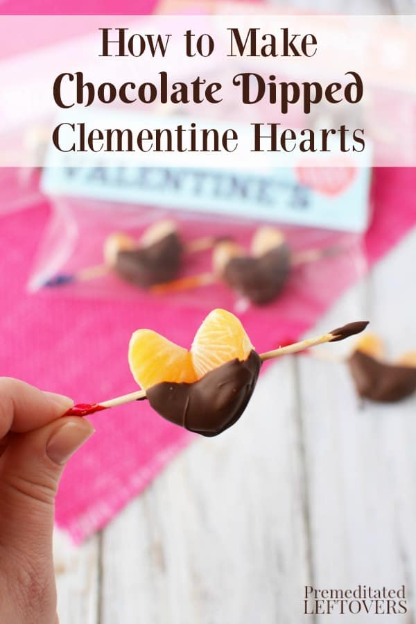 "Chocolate Dipped Clementine Hearts with a toothpick ""arrow"" with Valentines"
