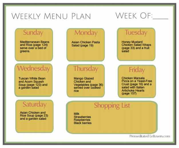 Menu Plan for Cubed Chicken, Basmati Rice, and White Beans. Recipes from Prep-Ahead Meals from Scratch with batch cooking plan.