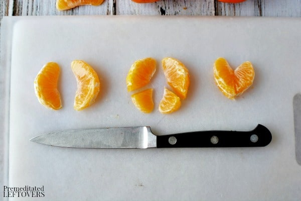 How to cut orange slices to make a heart for Valentine's Day