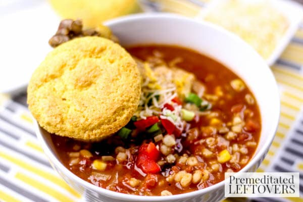 Chicken Chili with Barley- Ditch the ground beef and give this chicken chili a try instead. It's a hearty recipe that will keep you warm on cold days.