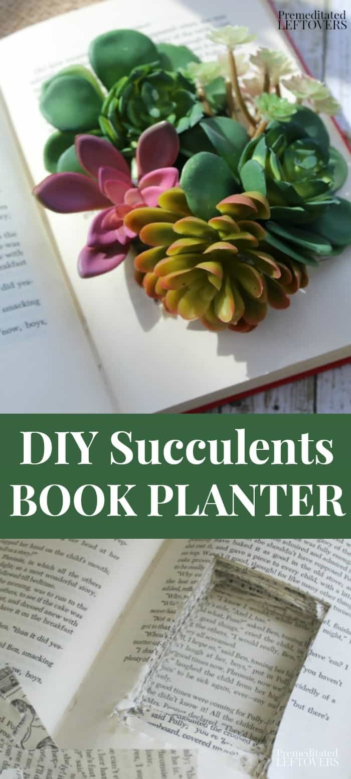 DIY Succulents Book Planter made from an old book